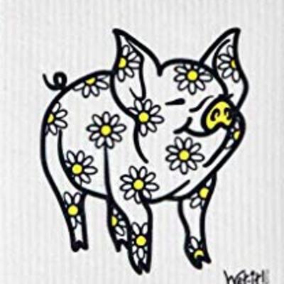 WetIt! Swedish Treasures Swedish Dish Cloth Daisy Pig