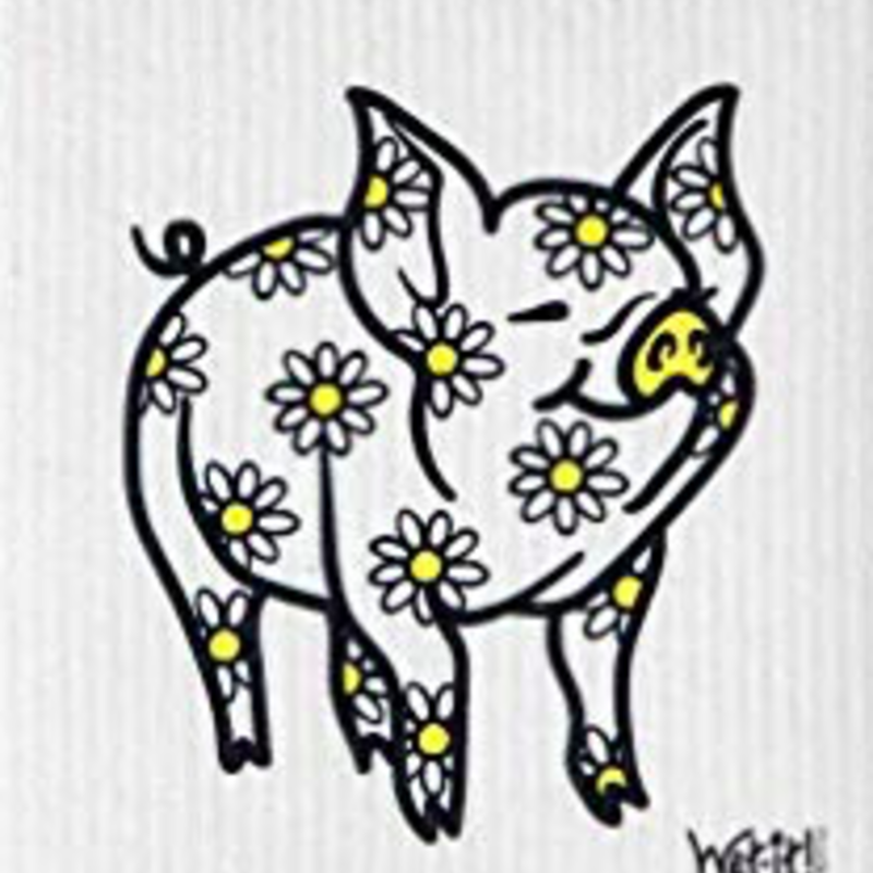 WetIt! Swedish Treasures Swedish Dish Cloth Daisy Pig
