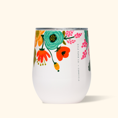Corkcicle Corkcicle Rifle Stemless - 12oz Gloss Cream - Lively Floral 355ml