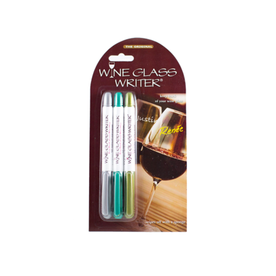 Wine Glass Writer Wine Glass Writer 3pc - Gold, Green and Silver