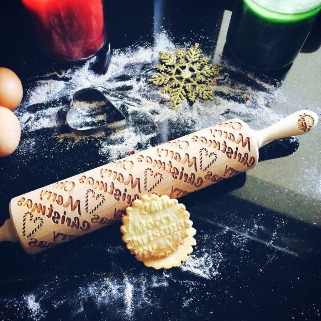 GoodyWoody Embossed Rolling Pin - Merry Christmas