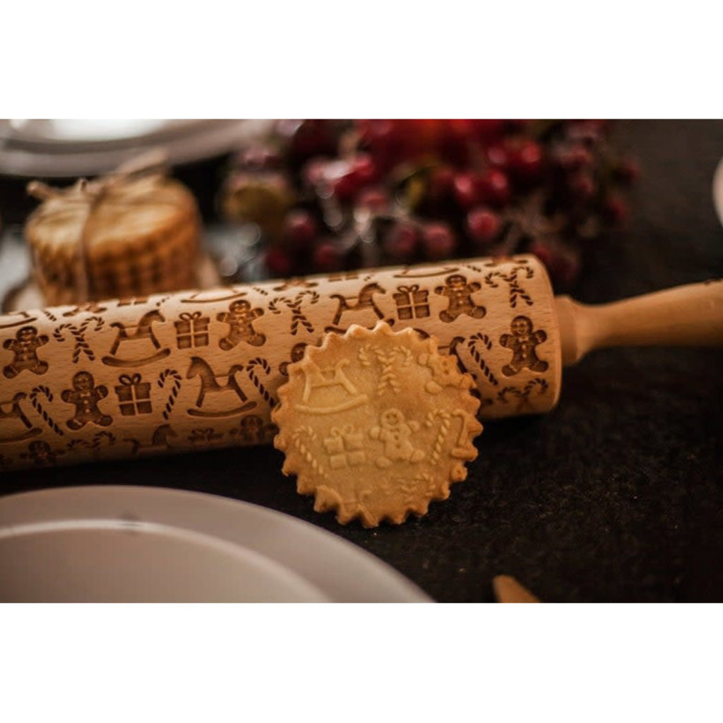 GoodyWoody Embossed Rolling Pin - Christmas Gifts