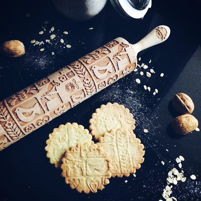 GoodyWoody Embossed Rolling Pin - Scandinavian Design