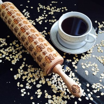 GoodyWoody Embossed Rolling Pin - Owls