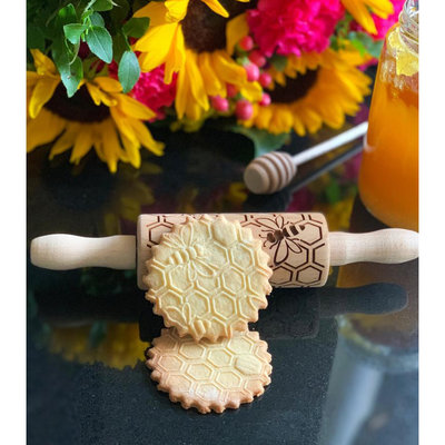 GoodyWoody Embossed Rolling Pin - Honeycomb Mini