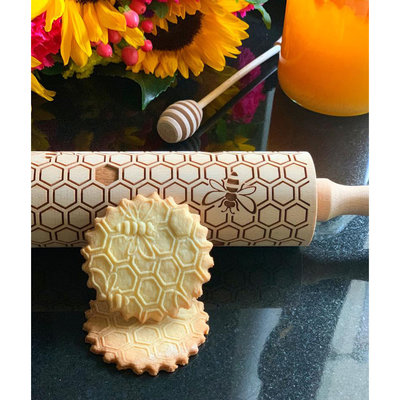 GoodyWoody Embossed Rolling Pin - Honeycomb