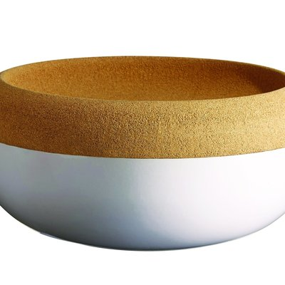 Emile Henry EH Large Storage Bowl w Cork Lid - Blanc