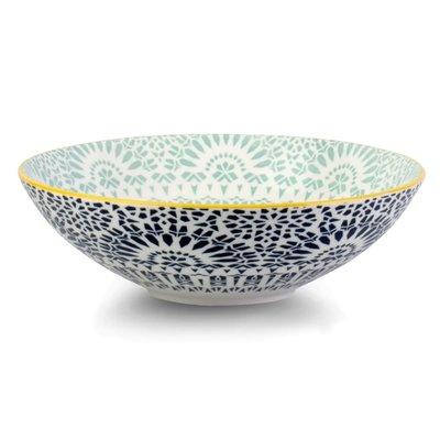 Paisley Bleu Porcelain Pasta Salad Poke Bowl, 21 cm- 25oz