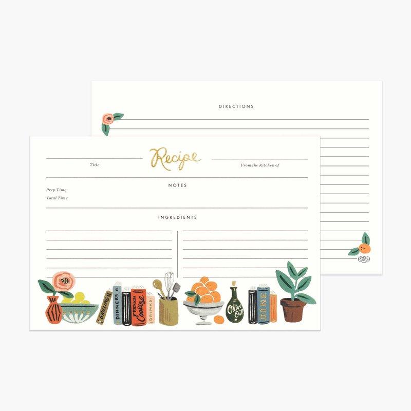 Rifle Paper Co Recipe Cards - Kitchen Shelf