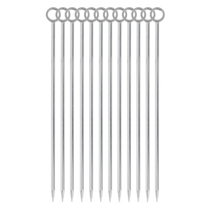 Barfly Cocktail Picks, Circle Top, Set of 12, Stainless Steel