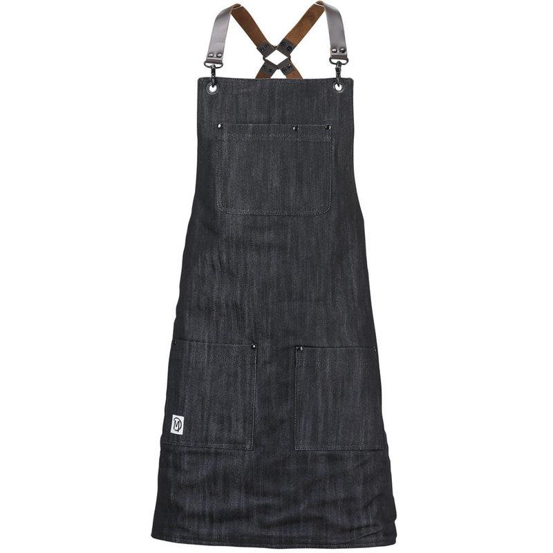Mercer Culinary Metro Edge Renegade Bib Apron - Black Denim w/ Brown Leather Straps