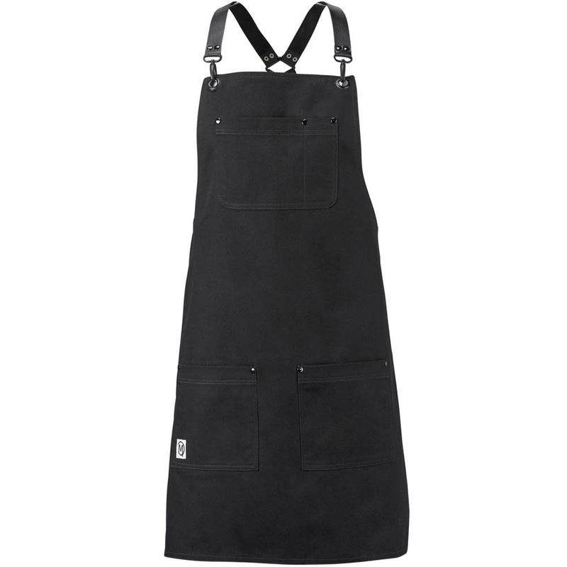 Mercer Culinary Metro Edge Renegade Bib Apron - Black Canvas w/ Black Leather Straps
