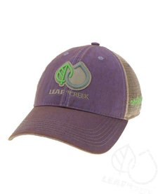LIC Hat Leaf Drop Logo Purple Trucker