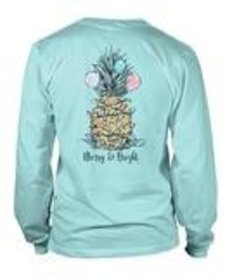 Anna Grace Comfort Color Long Sleeve Pineapple Christmas Tee