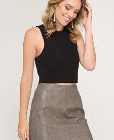 Faux Leather Mini Skirt w/ Lining SL7508