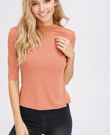 High Neck Ribbed Mid Sleeve Top