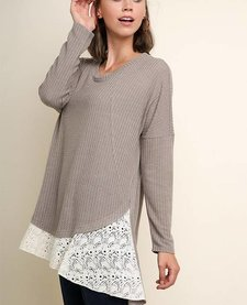 Waffle Knit Tunic with Floral Lace Detail