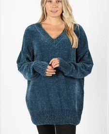 Oversized V-Neck Yarn Sweater