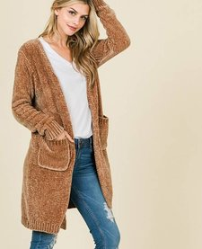 Oversized Chenille Cardigan with Pockets