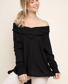 Off Shoulder Long Sleeve Waffle Knit with Cowl Neck