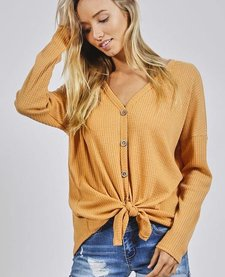 Long Sleeve Thermal Knit Button Down