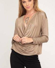 Long Sleeve Cowl Neck Shimmer Top