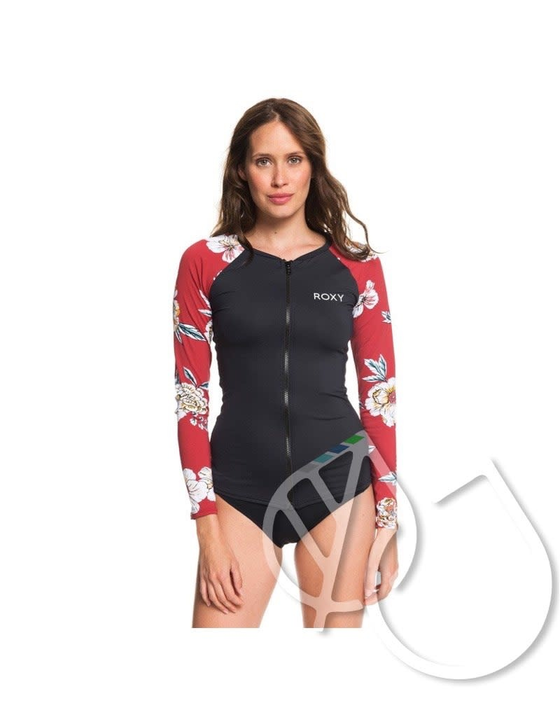 Roxy Roxy Sunny You Long Sleeve Zip-Up UPF 50 Rashguard -DEEP CLARET SWIM SEPT (rqh8)