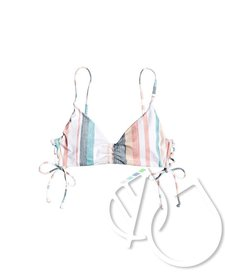 Roxy Printed Beach Classics Athletic Tri Bikini Top -BRIGHT WHITE S RETRO VERTICAL (wbb4)