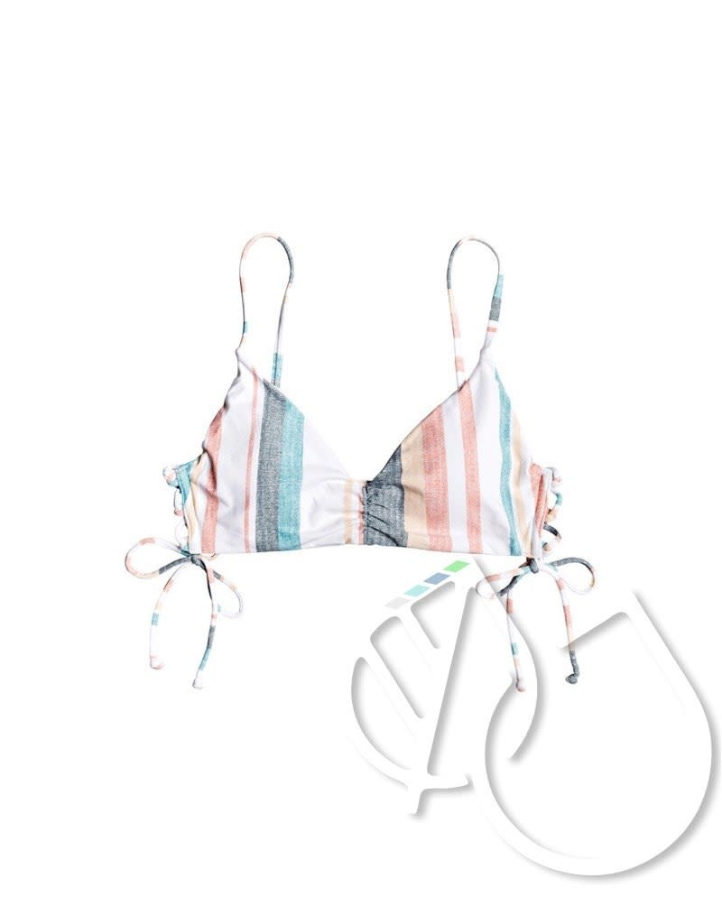 Roxy Roxy Printed Beach Classics Athletic Tri Bikini Top -BRIGHT WHITE S RETRO VERTICAL (wbb4)