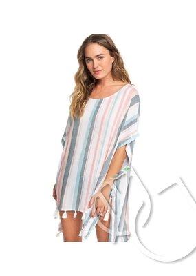 Roxy Roxy Make Your Soul Poncho Beach Dress -BRIGHT WHITE S RETRO VERTICAL (wbb4)