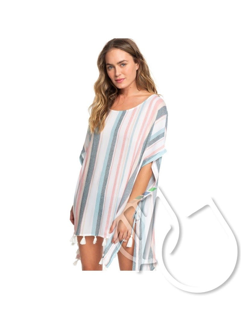 Roxy Roxy Make Your Soul Poncho Beach Dress -BRIGHT WHITE S RETRO VERTICAL (wbb4)