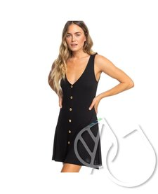 Roxy Dream Do Buttoned Rib Knit Dress -ANTHRACITE (kvj0)