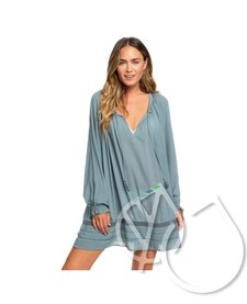 ROXY Under The Moon Long Sleeve Summer Dress -TROOPER (bln0)