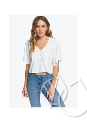 Roxy Roxy Hanging Moon Cropped Buttoned V-Neck Top -SNOW WHITE (wbk0)