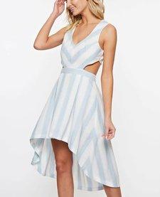 Stripe Cutout High Low Dress
