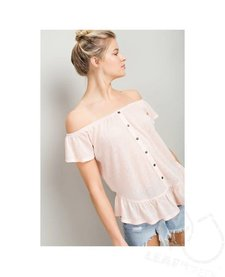 Off Shoulder Button Down Ruffle Top