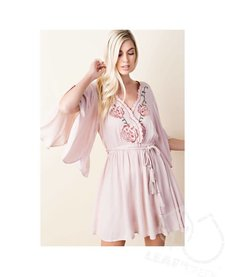 Surplice Embroided Flare Dress
