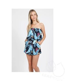 Leaf Print Strapless Romper with Pockets