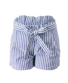 Linen Stripe Shorts with Belt