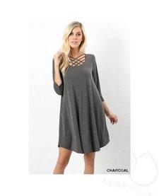 3/4 Sleeve Triple Lattice Dress with Pockets