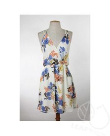 Strappy Floral Open Back Chiffon Dress