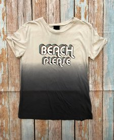 Short Sleeve Cuffed Ombre Rero Beach Please Graphic Top