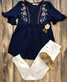 Embroidered Ruffle Sleeve V-Neck Top
