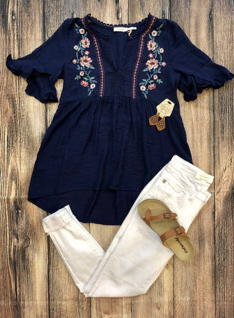 BluPepper Embroidered Ruffle Sleeve V-Neck Top