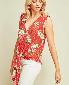 Polka Dot Floral Deep-V Tie Top