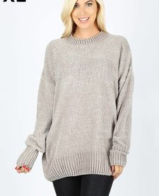 Oversized Round Neck Velvet Yarn Sweater