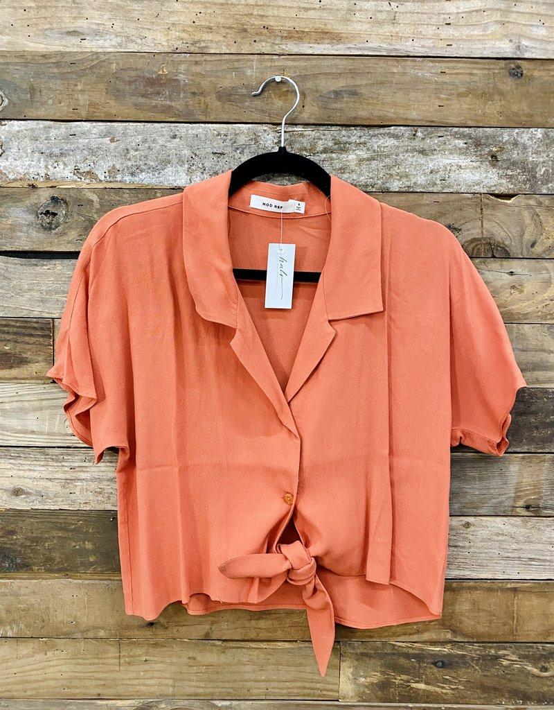 Halo Tangerine Collared Top