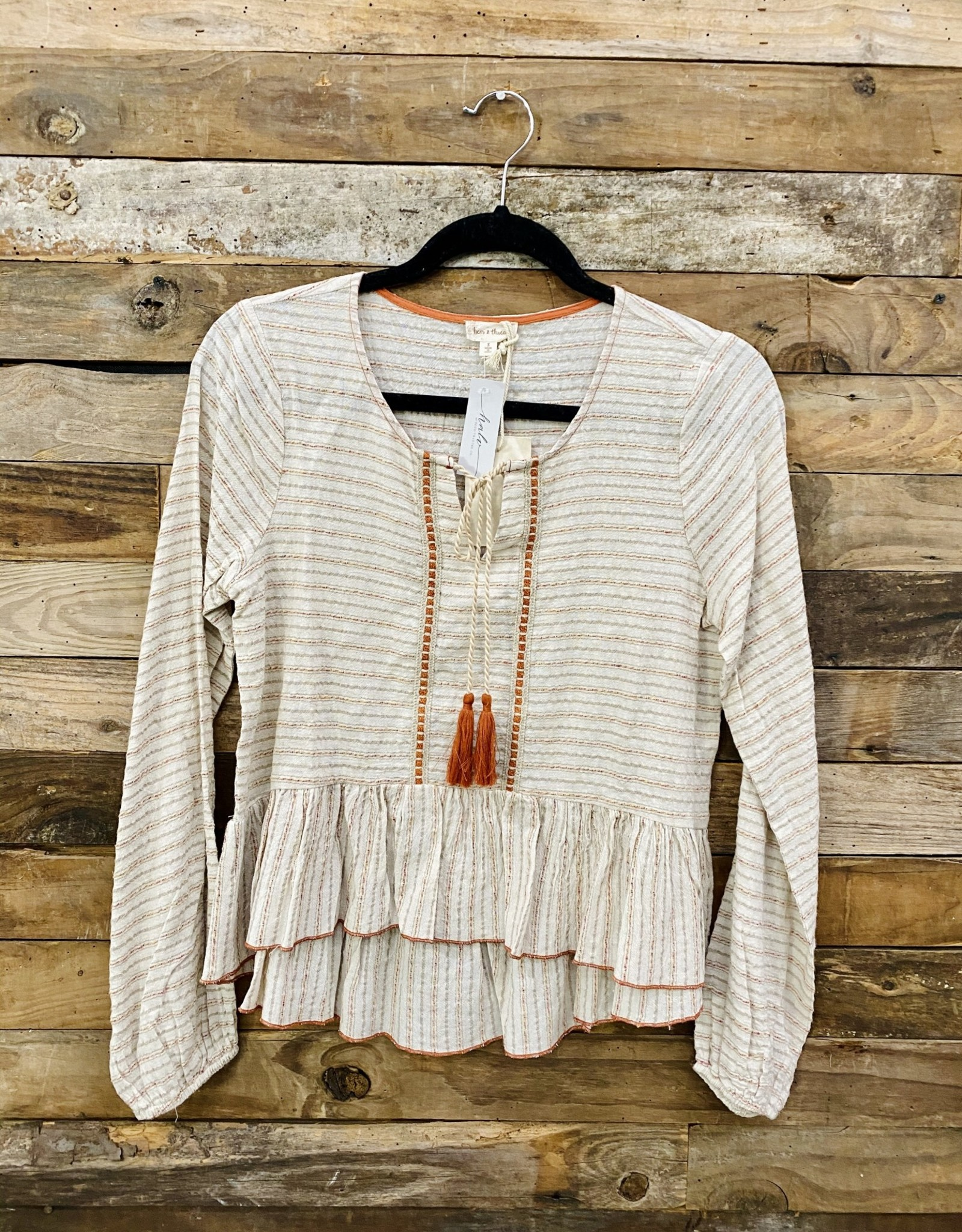 Halo Taupe Peasant Blouse