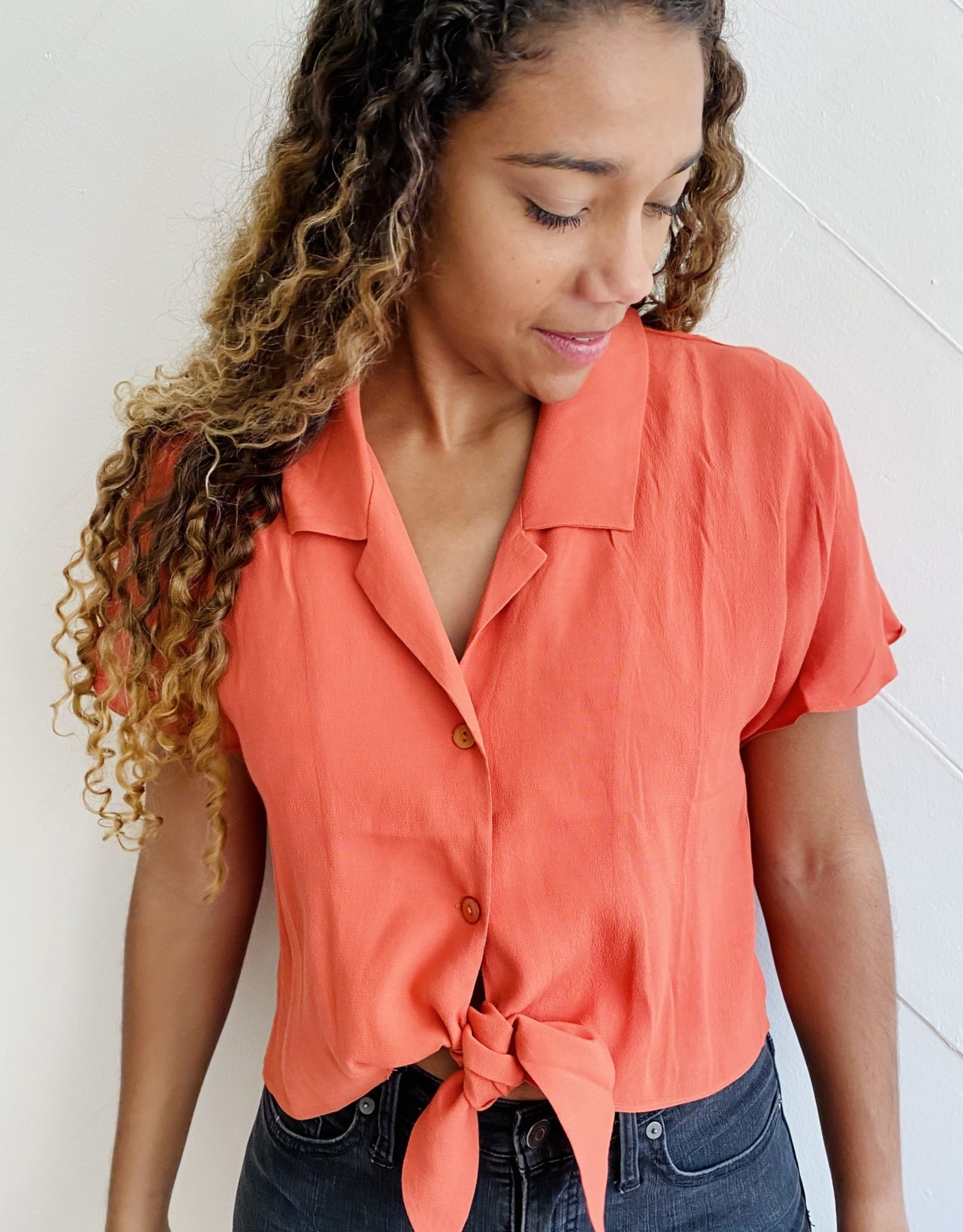 Halo Tangerine Collared Top