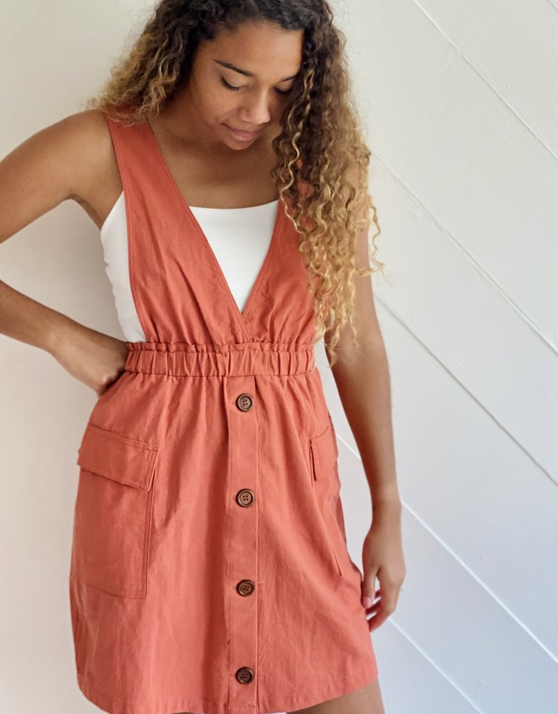 Halo Button V-Neck Dress